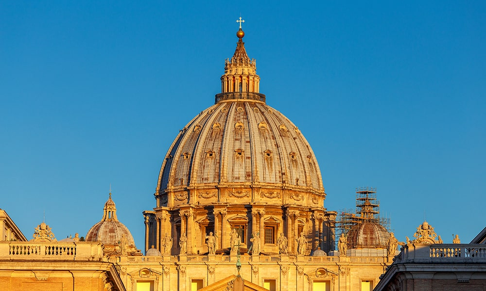 St. Peter's Basilica with dome slope at dawn