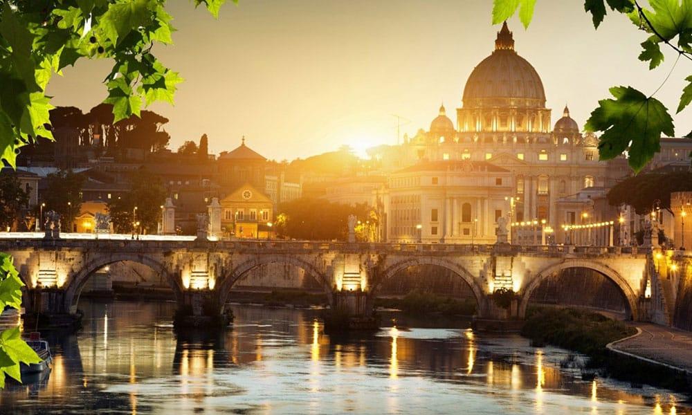 Rome at dusk - Saint Peter's Basilica